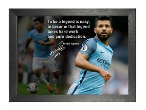 Sergio Aguero 7 Football Motivational Quote Signed Poster Inspiration Sport