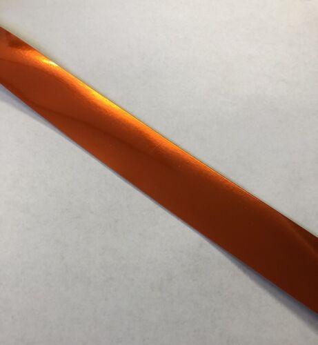 "Orange Chrome .75"" Full Size Football Helmet Stripe Decal High Quality 20 Mil"