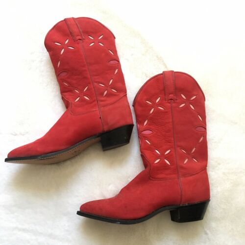 Red Leather Suede Wrangler Cowboy Boots