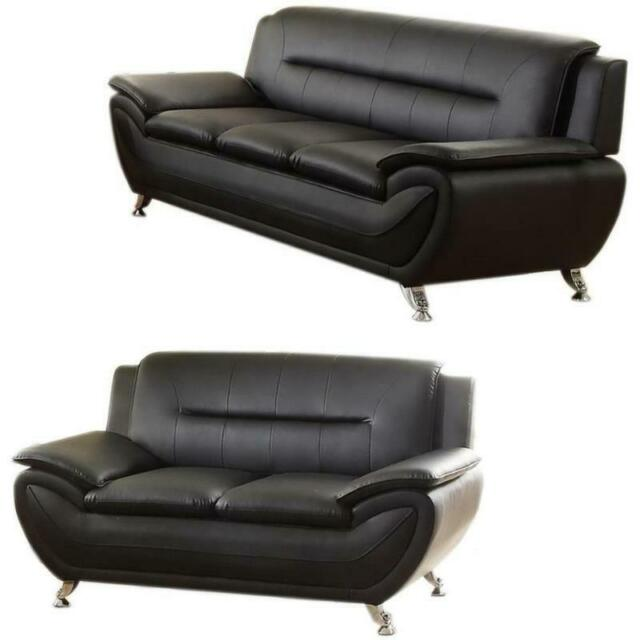 Groovy 2 Piece Faux Leather Modern Sofa And Loveseat Set In Black Dailytribune Chair Design For Home Dailytribuneorg