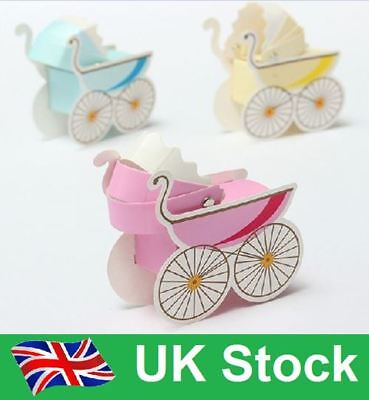 10 Pieces BLUE Boy Baby Shower Bag Gift Box Candy Pushchair Favour Make Special
