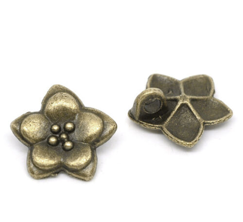 Charm 10 Antique Bronze Metal Flower Button 16x16mm Pendants