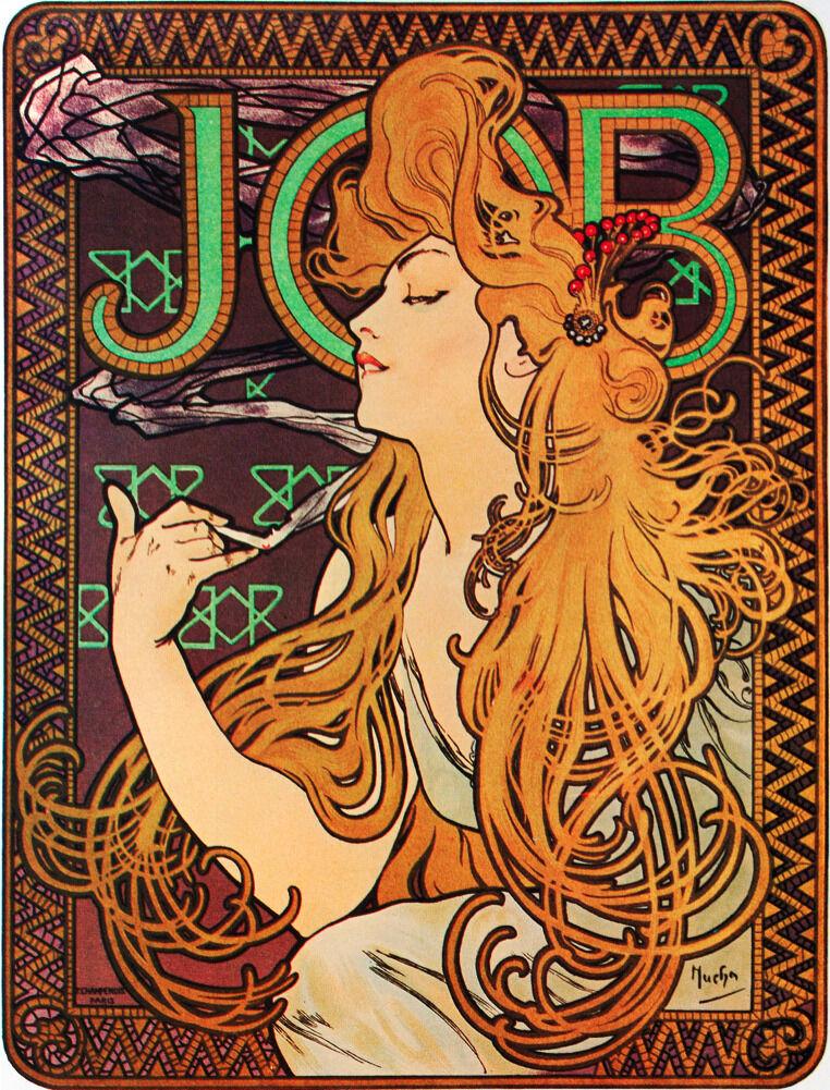 7674.Job.Woman with long Marronee hair combing hair.POSTER.art wall decor