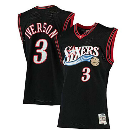 Allen Iverson #3 Throwback Swingman Jersey Philadelphia 76ers Sport Vest Black