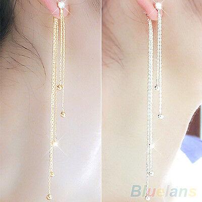 Women's Attractive Rhinestone Alloy Long Tassels Drop Dangle Linear Earrings