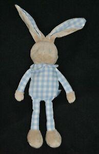 DOUDOU ET COMPAGNIE LAPIN  bleu et blanc vichy 20 cms avec les oreilles