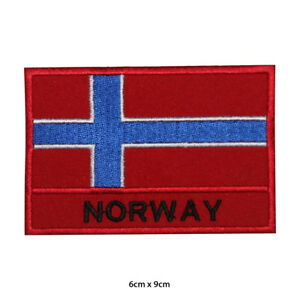 Norway National Flag Embroidered Patch Iron on Sew On Badge For Clothes Bags etc