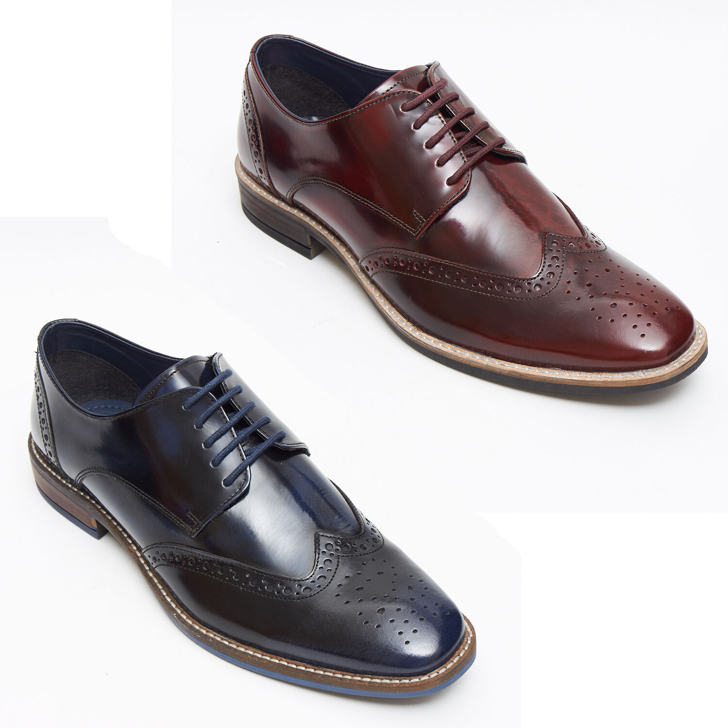 Mens New Leather Smart Black Formal Brogue Shoes-Bordo and Black Smart with Navy Blue Shade a7fd0d