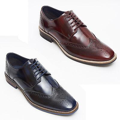 Geschickt Mens New Leather Smart Formal Brogue Shoes-bordo And Black With Navy Blue Shade Eine GroßE Auswahl An Modellen