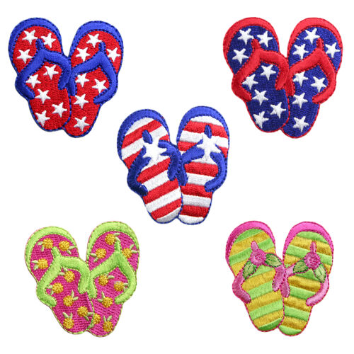 Flip Flops Sandals Shoes Self Adhesive Iron On Applique Sticker Patch By Piece