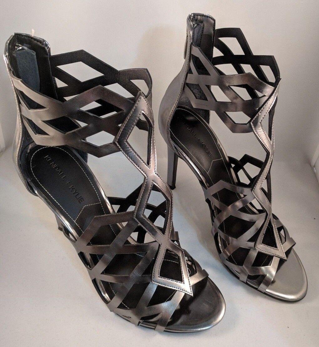 Kendall + Kylie Women's Elena Dress Sandal High Heel Silver Leather Size 7.5M US