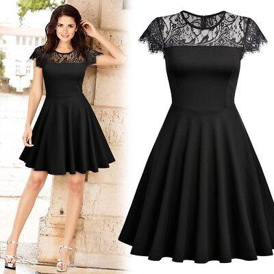 Damen Mini Kleid Abendkleid mit Spitze A-Linien Cocktaikleid Partykleid 36-44