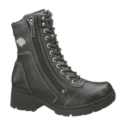 HARLEY-DAVIDSON FOOTWEAR Women/'s TESSA Black Leather Motorcycle Boots D85262