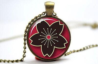 Cherry Blossom (Sakura) Japanese Style Flower-Photo Glass Dome Necklace Pendant