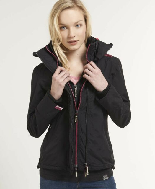 Womens Superdry Technical Windcheater Jacket Black S for sale online ... c3f2be6c6