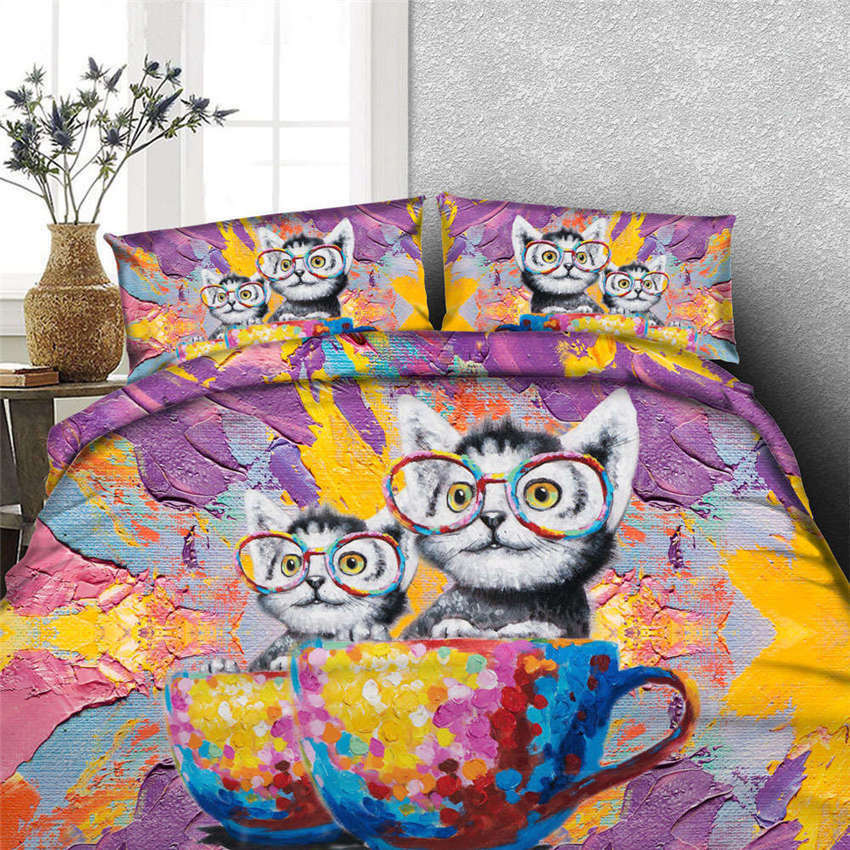 Cat Paint Nice Cup 3D Printing Duvet Quilt Doona Covers Pillow Case Bedding Sets