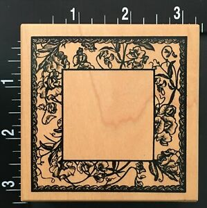 FLOWERS-AND-VINES-GARDEN-FRAME-PSX-G-3070-Wood-Mounted-Rubber-Stamp