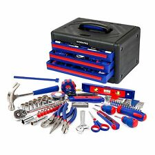 WORKPRO 125PC Tool Set Home Repair Kit Pliers Sockets Bits Hex Key 3-Drawer Box