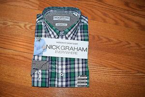 NWT Mens NICK GRAHAM White Purple Checkered Button Up Shirt L 16 16 1//2 32-33