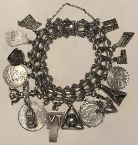FREE SHIPPING Vintage sterling silver charm bracelet with 9 charms