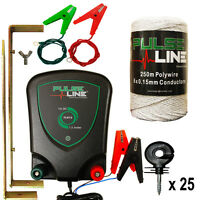Electric Fence Energiser Plb13 1.3j 12v Fencer 250m Poly Wire 25 Ring Insulators