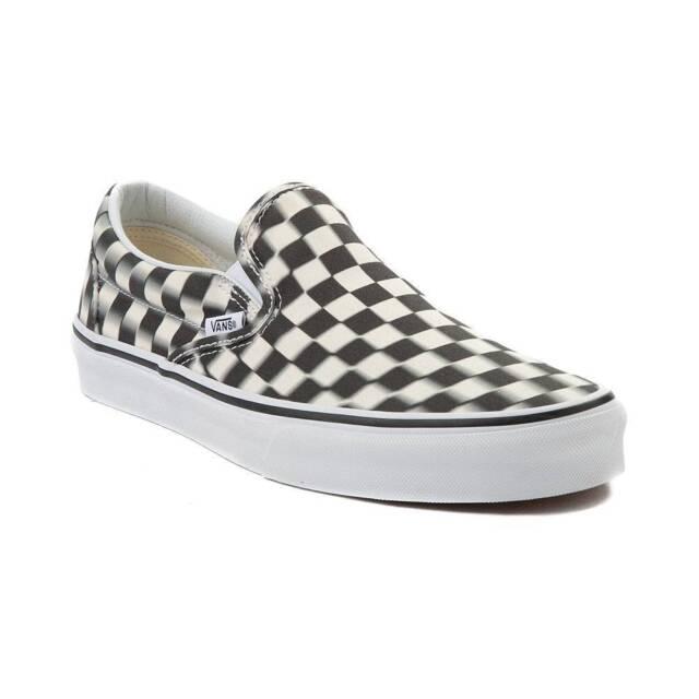 4e72ff7b808c2e NEW Vans Slip On Blur Chex Skate Shoe Black White Mens Checkerboard