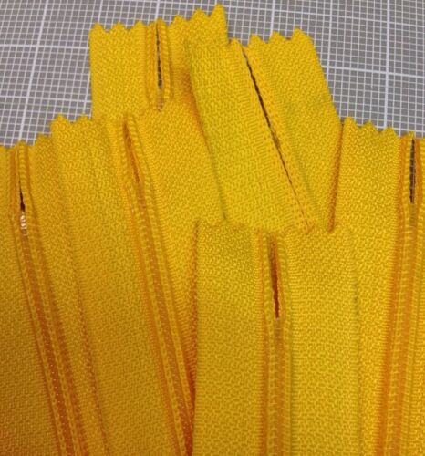 "5.1mm WHOLESALE LOT OF 10 LONG PULL HANDBAG ZIPPERS 14/"" Yellow #4 Nylon"