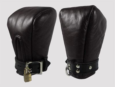 Mettere In Guardia Genuine Leather Bondage Fist Mitts/guanti Chiudibile A Chiave & Imbottito-mostra Il Titolo Originale