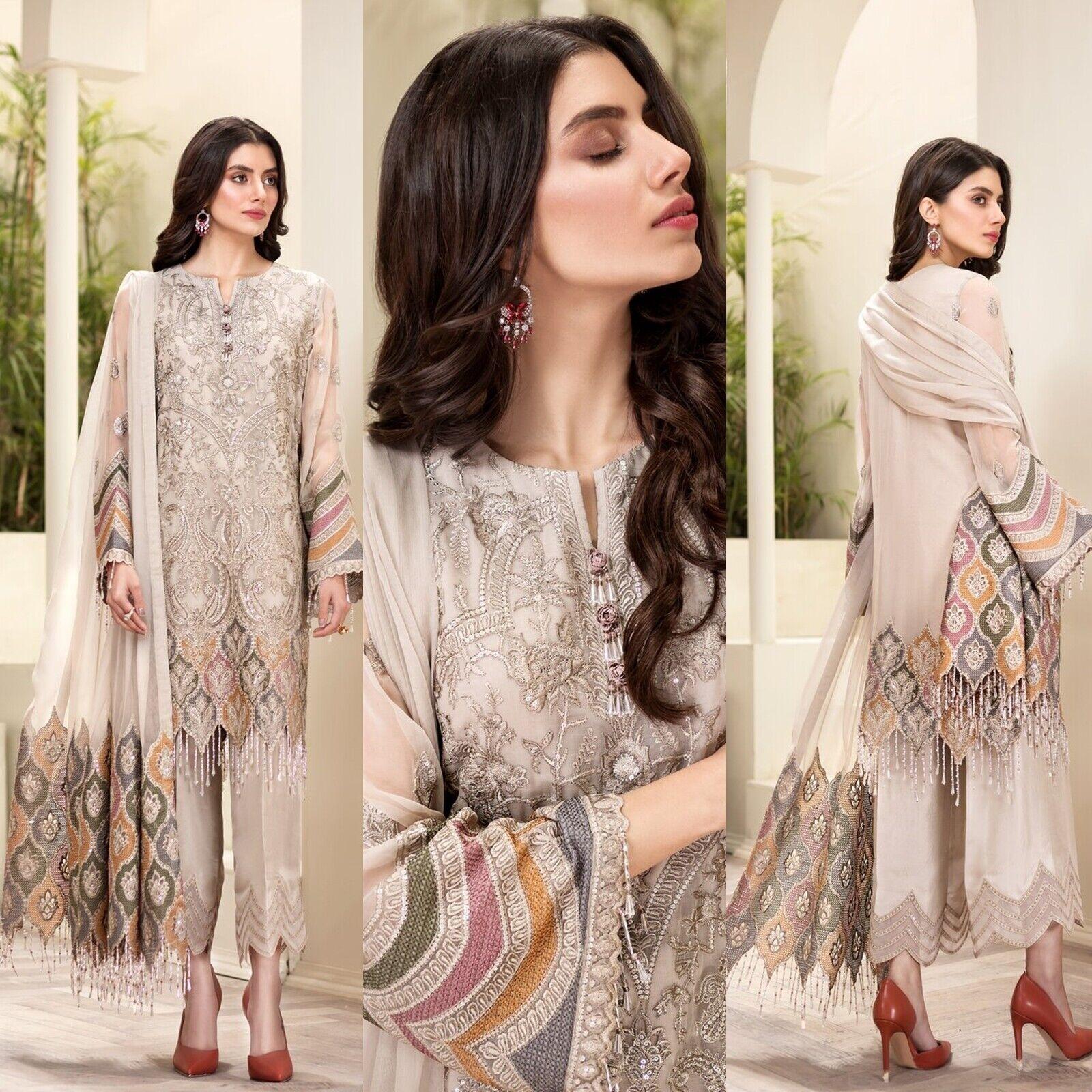 Indian Pakistani Shalwar Kameez Salwar Suit Dress Wedding Maria B Pink Green