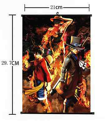 Hot Japan Anime One Piece Luffy Zoro Sanji Wall Scroll Home Decor 21*30CM 001