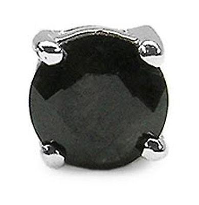 Herrenohrring/Ohrstecker  schwarzer Saphir-925 Silber-0,35 Karat-4mm