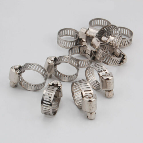"""20x 1//2/""""-5//8/"""" Adjustable Stainless Steel Drive Hose Clamps Fuel Line Worm Clips"""