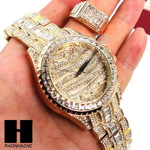 TECHNO-PAVE-GOLD-BLING-ICED-OUT-14K-GOLD-LAB-DIAMOND-WATCH-and-RING-SET-GW191