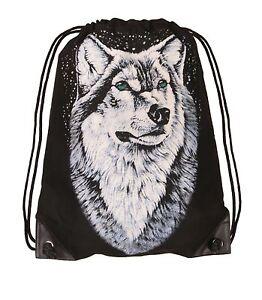 Wolf-Rucksack-Tasche-Freitzeit-Turn-Beutel-Bag-schwarz-Woelfe-Tuete-Shopper