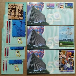 1999-Malaysia-TNB-National-Electricity-50th-Anniversary-complete-set-3-FDC-Mel