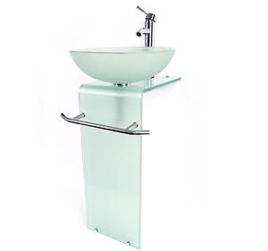 modern bathroom vanity pedestal frosted glass bowl vessel sink combo with faucet ebay