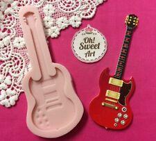 Big Guitar silicone mold fondant cake decorating food soap cupcake topper FDA