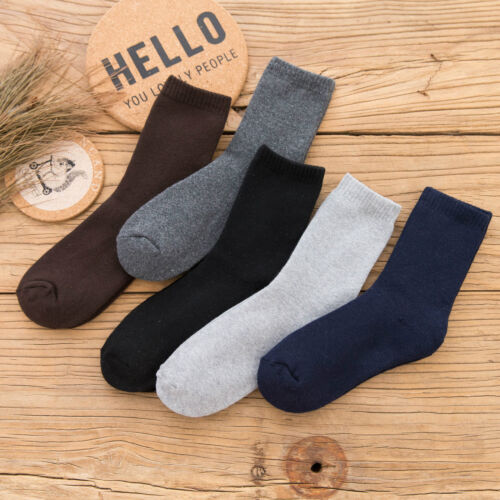 NEW 5 Pack Men Wool Cashmere Thick Warm Soft Solid Casual Sports Socks Winter