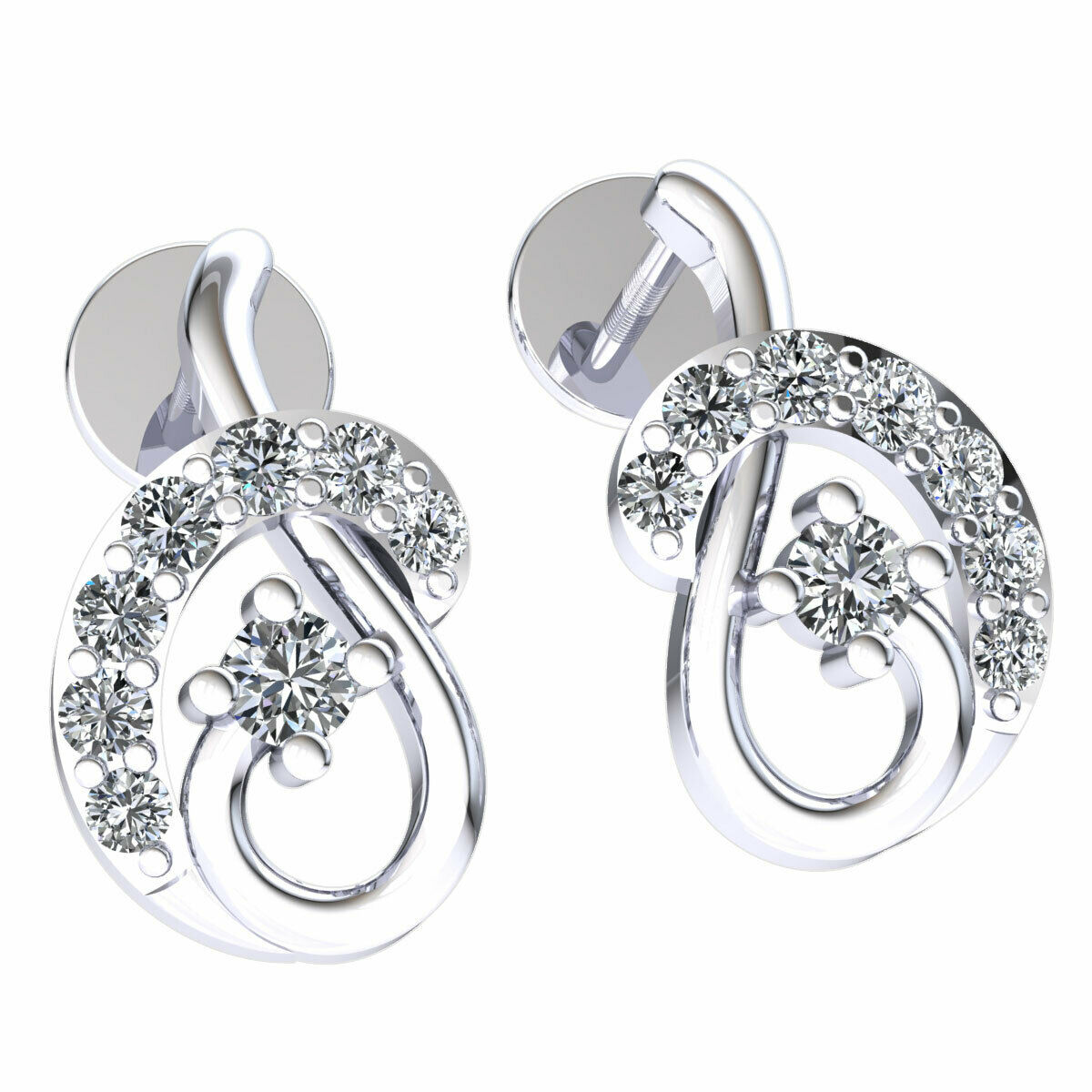 52b7cb33806a1 Cut Round Genuine 0.2ctw Diamond gold 18K Earrings Gift Birthday ...