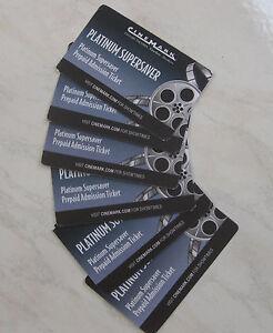6-SIX-CINEMARK-PLATINUM-SUPERSAVER-Movie-Tickets-Century-Rave-Theater-FREE-S-amp-H