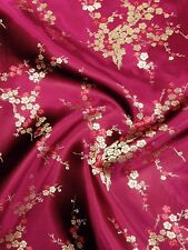 Brocade Chinese floral blossom oriental asian  Burgundy / Gold Fabric