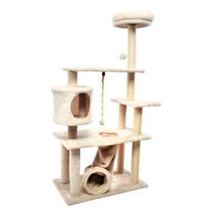 55'' Multi-Level Cat Tree with Kitten House Condo Furniture Scratching Post
