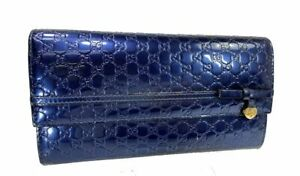 Auth-GUCCI-Micro-GG-Pattern-Patent-Leather-Long-Wallet-Purse-Y1301