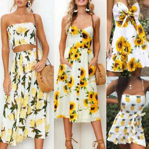 Boho-Women-Floral-Sleeveless-Button-Dress-Summer-Holiday-Party-Beach-Sundress-AU