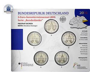 Deutschland-5-x-2-Euro-2016-Dresdner-Zwinger-A-D-F-G-J-Stempelglanz-im-Blister