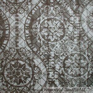 BonEful-Fabric-FQ-Cotton-Quilt-Brown-Cream-Off-White-Damask-Chiffon-Flower-Retro