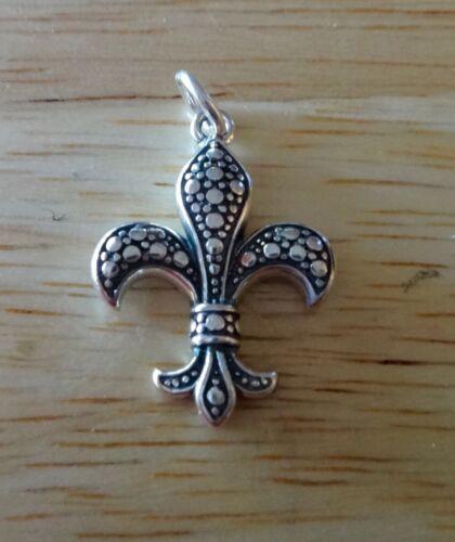 1 Sterling Silver 21x16mm Pretty Fleur de Lis Charm Pendant concave on back