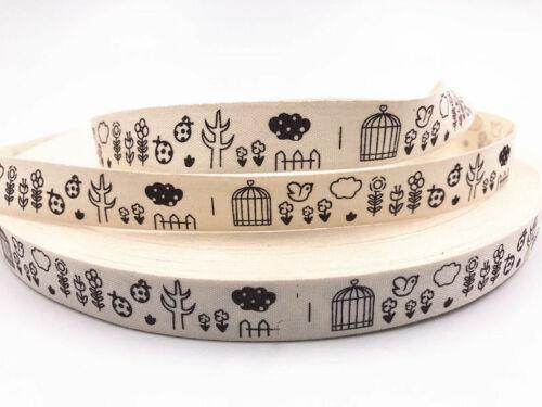 5Yards Printed Cotton Ribbon handmade DIY Sewing Craft 15mm Multi-color optional
