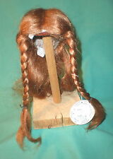 """doll wig/ human hair 9.5"""" to 10"""" light red long hair, braids, hand knitted"""