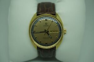OMEGA-VINTAGE-SEAMASTER-COSMIC-AUTOMATIC-GOLD-DIAL-14K-G-F-MENS-WATCH-ON-STRAP